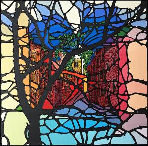 "Art work, Dissolution, artist, Denitza, medium, acrylic and enamel on canvas, size, 20""x20"""