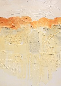 "Carolyn Land discusses painting: ""I then take my textured surface and bring life to it using a gold wash, like raking away the debris of winter, so the shoots of new growth can be made visible on what was the white surface of the winter landscape. I find the crevices, cracks, plains, and rills."""