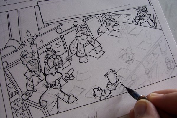 A pen sketch of a comic book panel