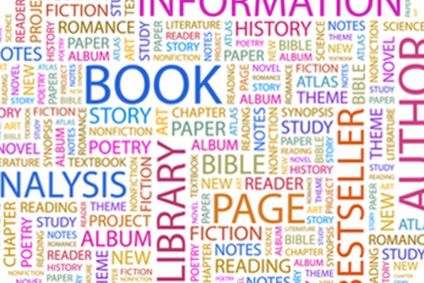 A collage of words associated with books and publishing