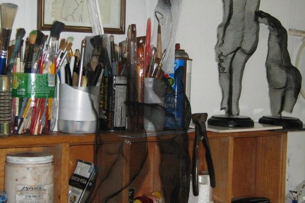 Sculpture by Donald Kolberg in his studio