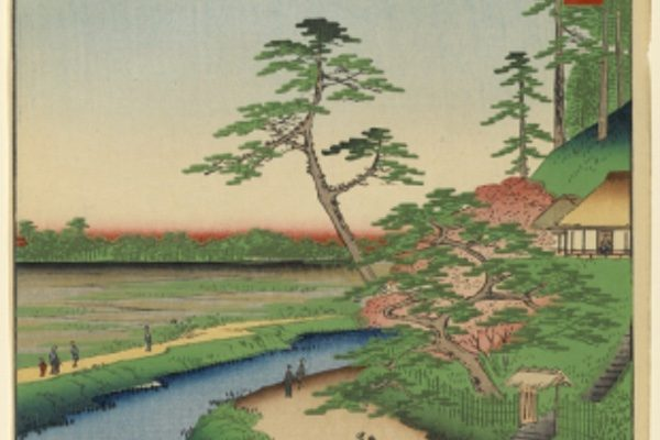 A painting of bonsai trees and a river