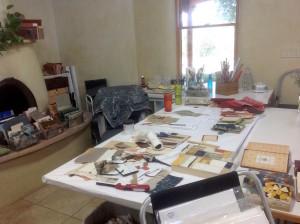 Abstract art in the making, Melinda Tidwell's studio.