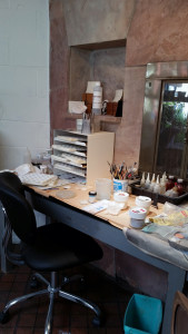 Judy Stone's studio the area for wet application in enameling
