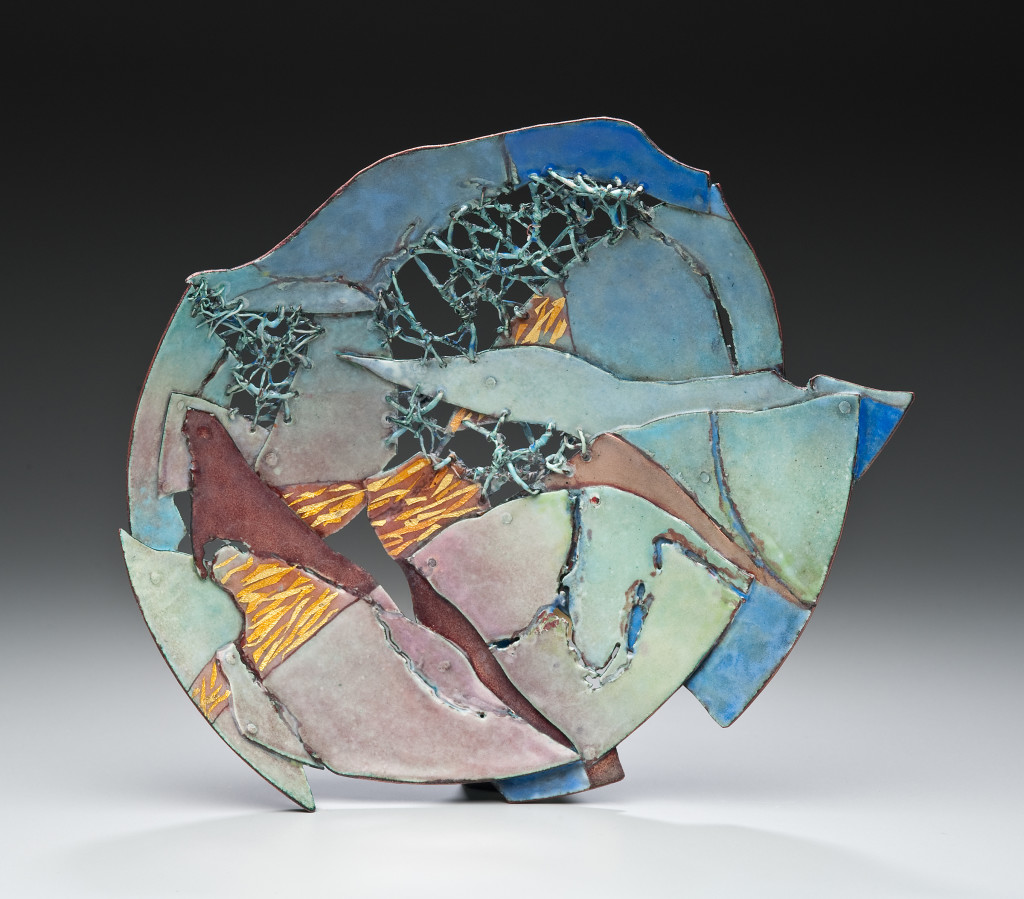 "Tactility contributes to the amazing effects in Burnt Offering: Caldera, Judy Stone's enameled copper (11"" x 8.5"" x 1.25"")."