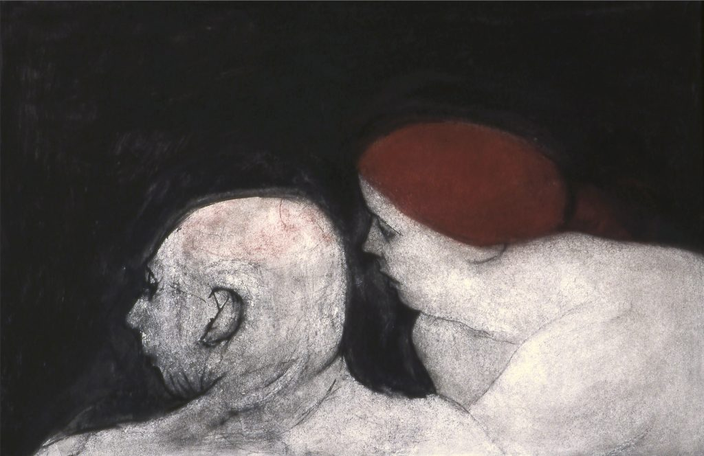 "The Woven Tale Press image of Joyce Kubat Couple pastel on paper 26"" x 40"""