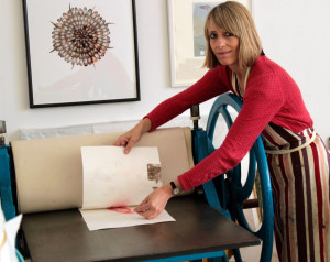 Rebecca Jewell Printing on Her Hunter-Penrose Etching Press