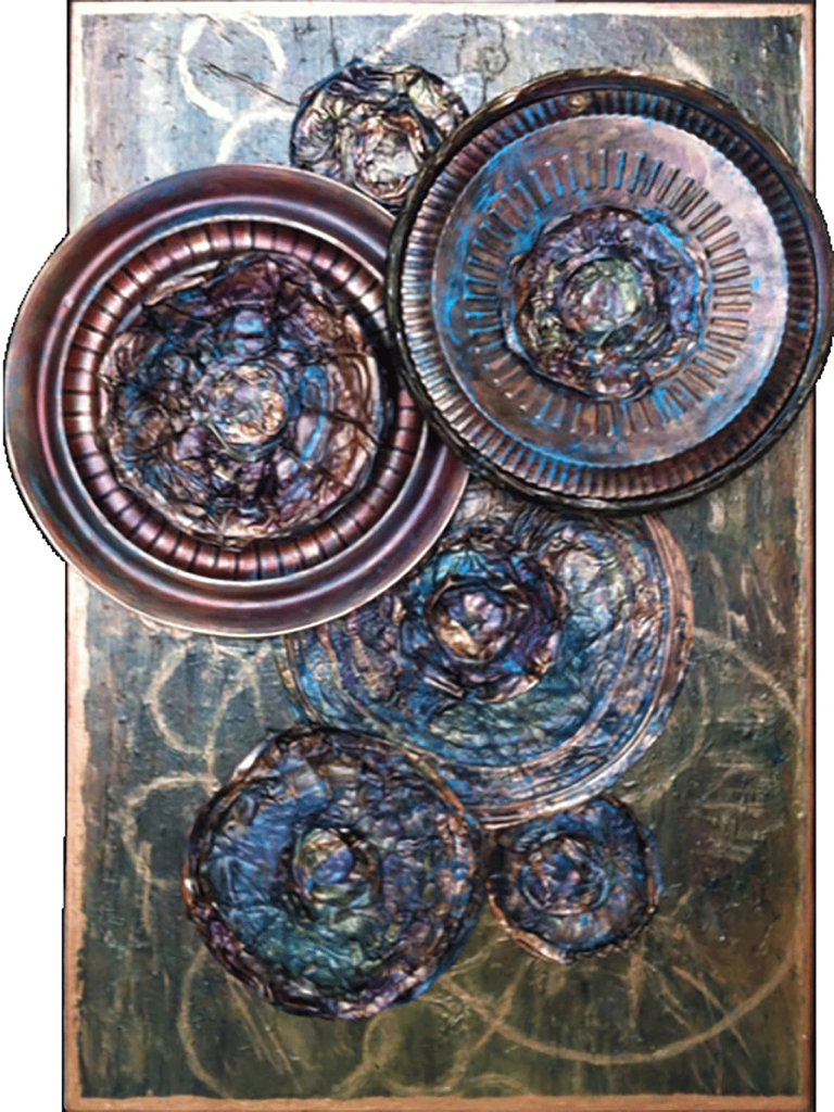 """Lisa J LevasseurWheels of Change, 36"""" x 24"""" PaletteArt™ Recycled Acrylic on canvaspermanent collection Landfill Art"""