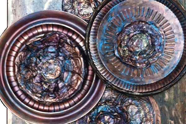 """Lisa J Levasseur Wheels of Change 36"""" x 24"""" PaletteArt™ Recycled Acrylic on canvas permanent collection Landfill Art"""