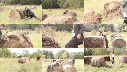 Kathryn Baczeski, Push, 6'x9', Straw, Clay & Video Projection 40min loop, 2015