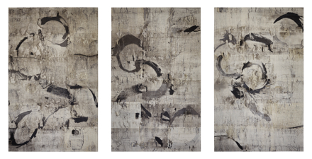 A three-panel print of abstract figures representing birds