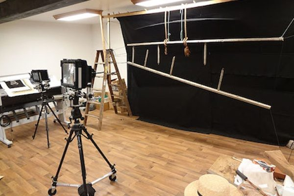 The set-up for photographing Stephen Althouse's Ladder photograph