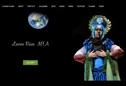 Home page of artist Lauren Raine's website
