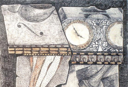 A drawing of an umbrella, the edge of a violin, clocks, and a chess piece