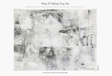 The home page of artist Mira M. White's website