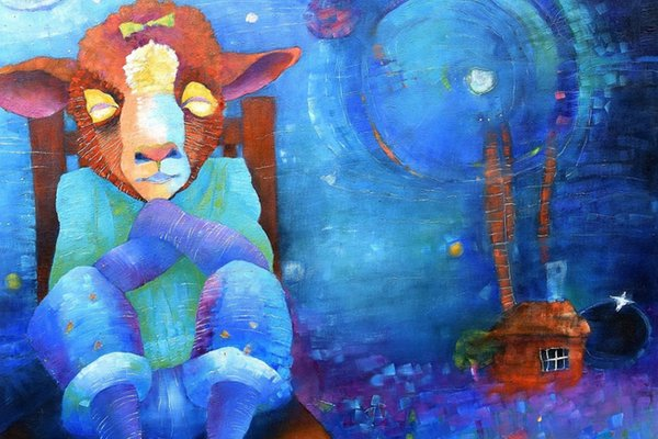 A colorful painting of a lamb sitting in a chair