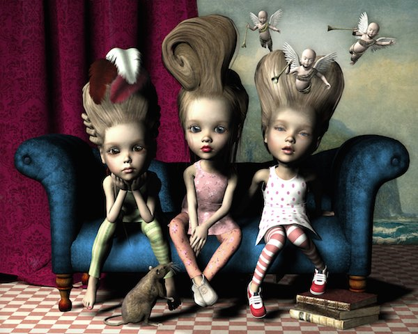 A digital painting of three young girls sitting on a couch