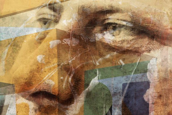 A digital collage making up the close-up portrait of a man's face