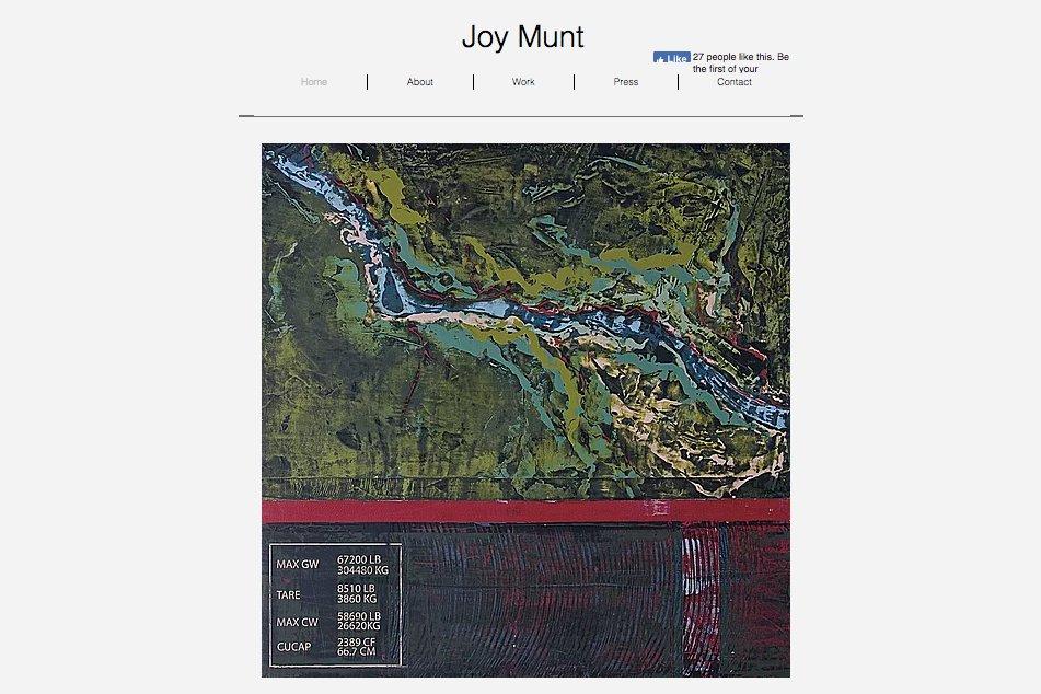 Home page of artist Joy Munt's website