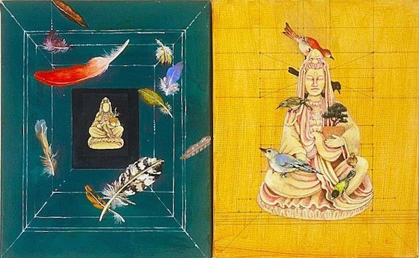 A diptych of two Buddha statues with birds on them