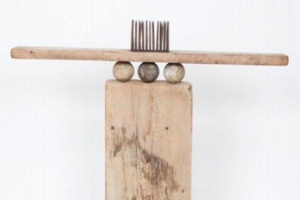 Seedlings, William Vollers. Free-standing, found wood, metal nails.