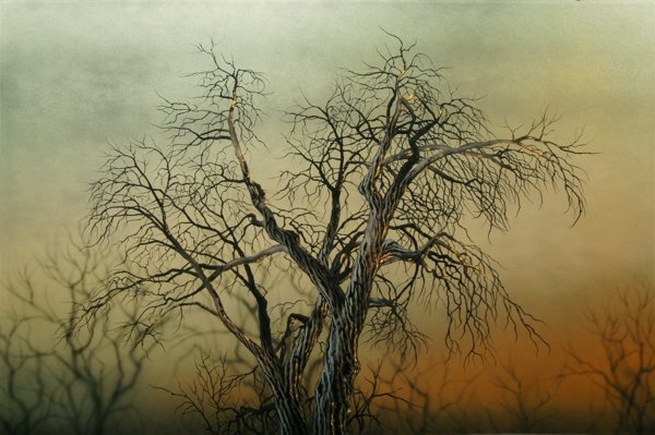 A painting of a group of dead trees with an orange and yellow background