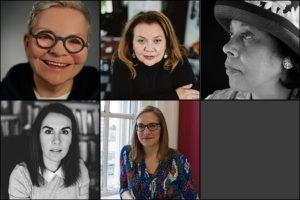 A collection of headshots of female poets interviewed by The Woven Tale Press