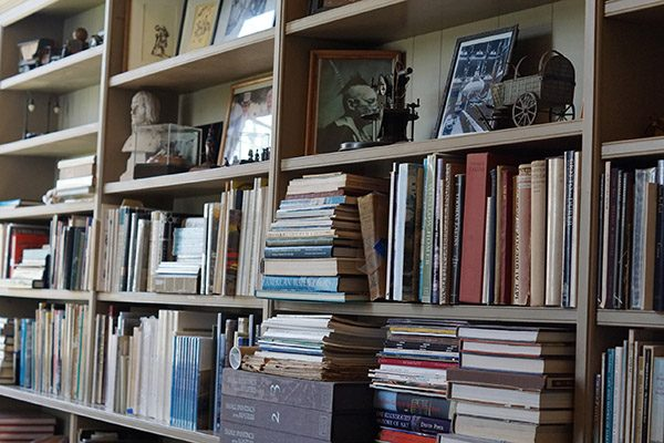 Bookshelves filled with books, frames, and figurines