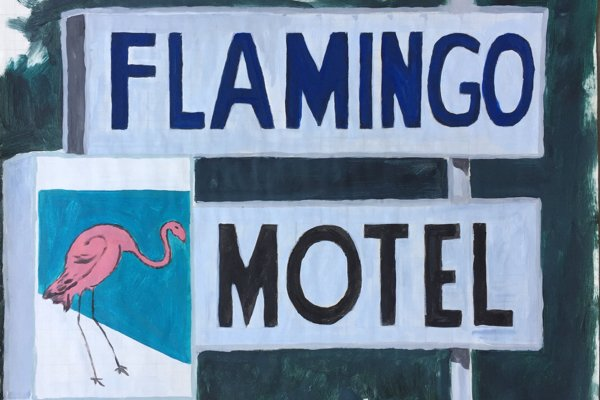 A painting of a sign for a Flamingo Motel