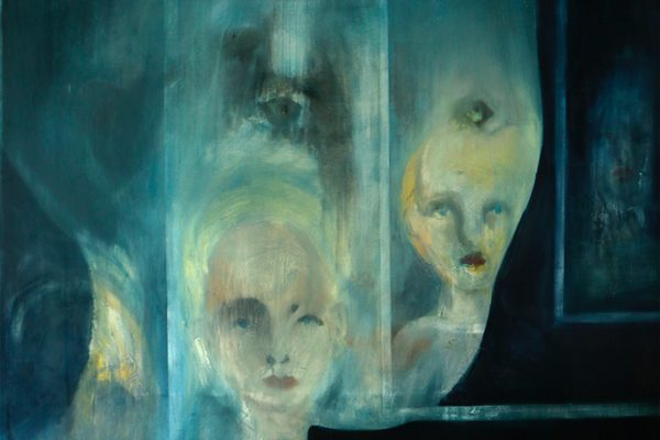 A shadowy painting of a ghostly figure with other faces inside its face