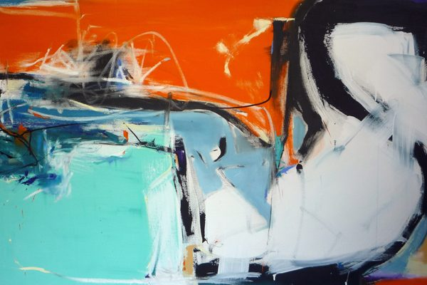 An abstract painting featuring large blocks of teal, orange, and white