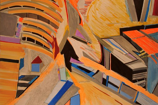 An abstract painting of a path and houses