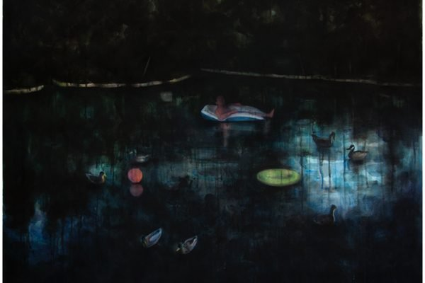 A watercolor painting of a pond with lilypads at night