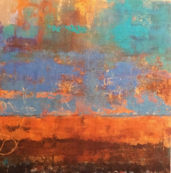 An abstract cold wax painting in blues and orange