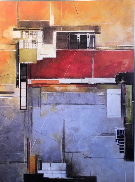 An architectural painting featuring oil and cold wax