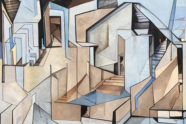 An abstract painting with block shapes and stairs leading to nowhere