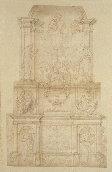 A drawing of the opening of a tomb