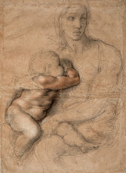 A drawing by Michelangelo of Madonna and child