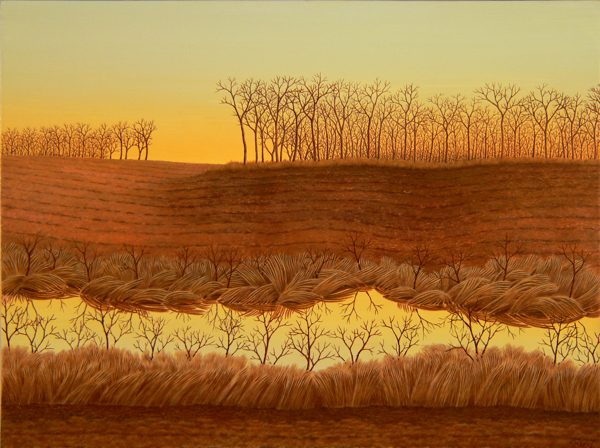 A painting of a field at sunset, with trees in the background and a river running through