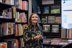 Author Lynn Lipinski at a bookstore talk