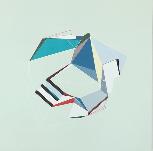 An abstract, geometric colorful drawing