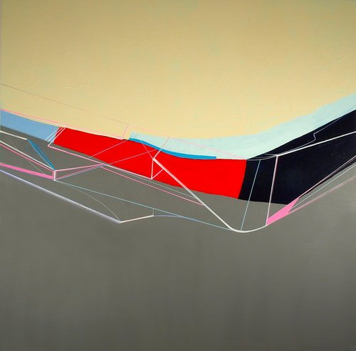 An abstract, geometrical colorful painting with a bright red line in the middle