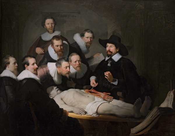A Rembrandt painting, of a doctor performing an autopsy with a crowd of observers