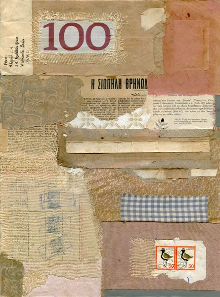A collage of stamps, fabric, newspaper clippings, and more