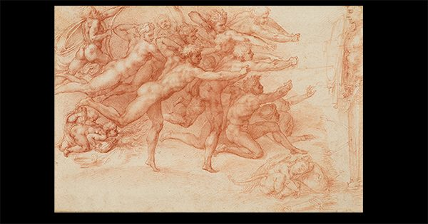 A drawing of a group of naked archers by Michelangelo