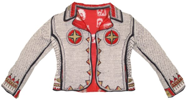 A textile model of a cream-colored leather jacket with a red lining