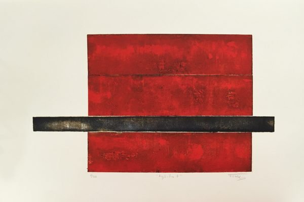 A print of a red rectangle with a black line through the bottom half