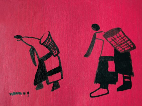 An ink drawing of two cotton pickers on red paper