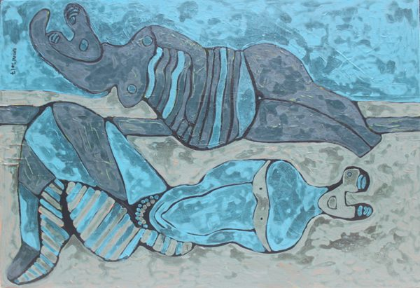 An abstract painting of two women in blue laying down