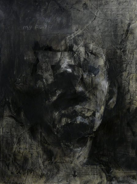 A dark, abstracted portrait of a man's face